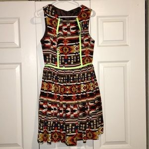 Ark & Co Dresses - Bright and fun Aztec print dress with neon accents